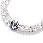 Akoya pearl necklace, alexandrite, white diamond and white gold