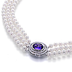 Akoyas pearl necklace, sapphire, white diamond and white gold