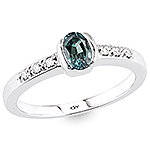 Alexandrite and white diamond gold ring.