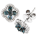 Alexandrite, white diamond and white gold earrings..