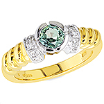 Alexandrite ,white diamond and yellow gold ring.