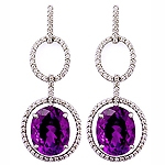 Amethyst and white diamond gold earrings