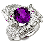 Amethyst,ruby and white diamond gold ring