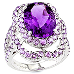 Amethyst, sapphire and silver ring.