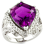 Amethyst,white diamond and white gold ring