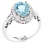 Aquamarine and white diamond gold ring