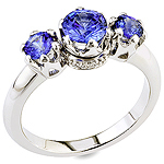 Blue sapphire ,white diamond and white gold ring.
