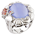 Chalcedony, sapphire and silver ring.