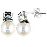 Color change garnet,akoya pearl,diamond and white gold earrings.