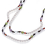 Designer single strand rope necklace with white pearls and gemstones