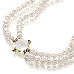 Fresh water pearl,sapphire,rhodolite,moon stone,silver and yellow gold necklace