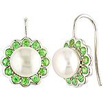 Fresh water pearl ,tsavorite and silver earrings