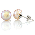 Freshwater pearl and silver stud earrings