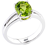 Green peridot gold ring.