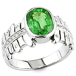 Green tsavorite and white diamond gold ring.