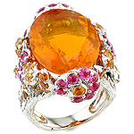 Opal, spessartite, ruby and silver ring.