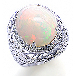 Opal ,white diamond and white gold ring.