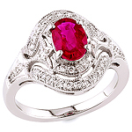 Pink ruby and white diamond gold ring.
