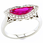 Pink ruby ,white diamond and white gold ring.