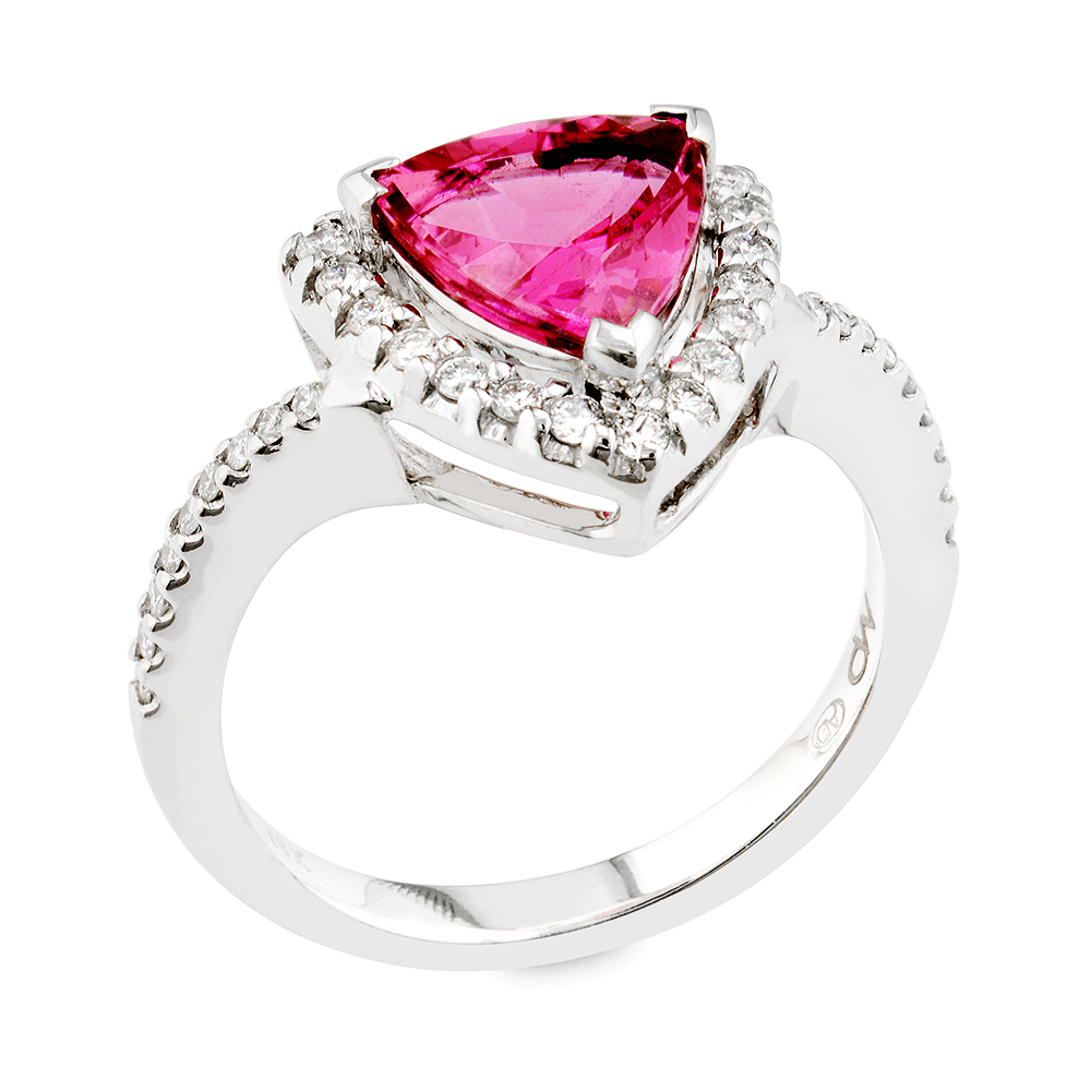 Pure Love Pink Spinel And White Diamond Gold Ring