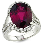 Rhodolite and white diamond gold ring.