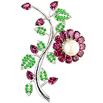 Rhodolite, freshwater pearl, tsavorite  and silver pin.