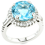 Topaz ,white diamond and white gold ring.