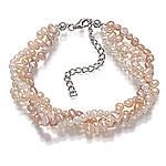 White and pink pearl triple strand twined bracelet.