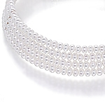 White pearl stretch collar necklace