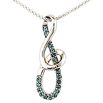 Alexandrite and white gold pendant