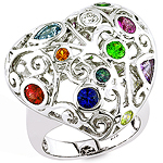 Alexandrite, Aqua, Ruby, Sapphire, Sphene, Diamond, white gold ring.