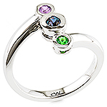 Alexandrite, tsavorite, sapphire and white gold ring.