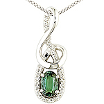 Alexandrite ,white diamond and white gold pendant