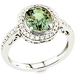 Alexandrite, white diamond and white gold ring