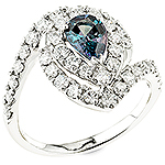Alexandrite,white diamond and white gold ring.