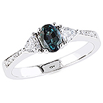 Alexandrite , white diamond and white gold ring.