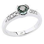 Alexandrite ,white diamond and white gold ring.