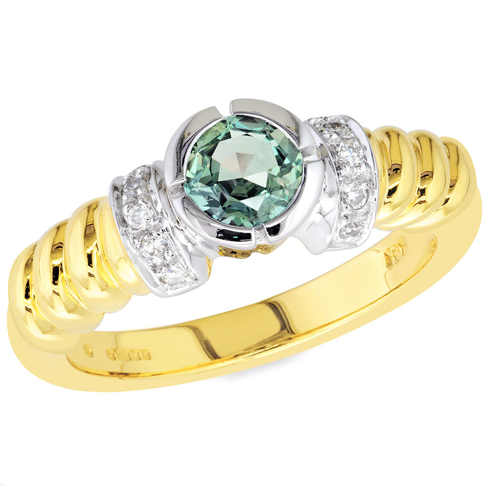 candela alexandrite white and yellow gold ring