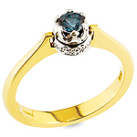 Alexandrite, white diamond, white gold and yellow gold ring