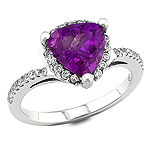 Amethyst and white diamond gold ring