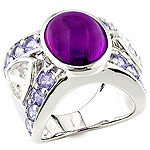 Amethyst, danburite, sapphire and silver ring.
