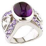 Amethyst, danburite, tanzanite and silver ring.