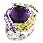 Amethyst, tsavorite, sapphire and silver ring.