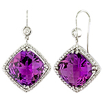 Amethyst,white diamond and white gold earrings