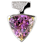 Amethyst,white diamond and white gold pendant
