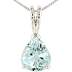 Aquamarine and white gold pendant