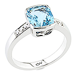 Aquamarine,white diamond and white gold ring.