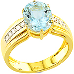 Aquamarine ,white diamond and yellow gold ring.