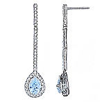 Blue aquamarine and white diamond gold earrings