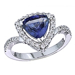 Blue sapphire and white diamond gold ring